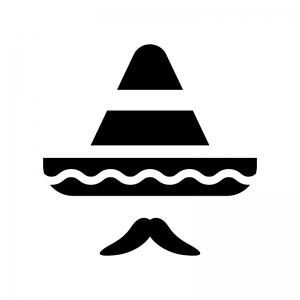 ソンブレロと髭のシルエット 無料のaipng白黒シルエットイラスト