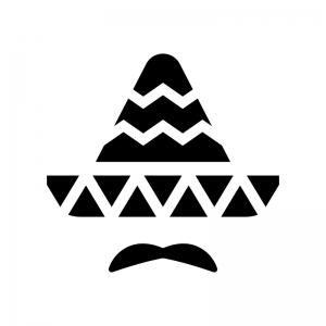 ソンブレロと髭の白黒シルエットイラスト02