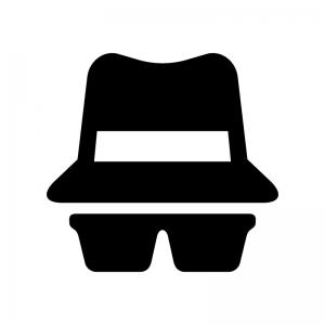 帽子とサングラスの白黒シルエットイラスト