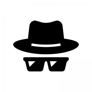 帽子とサングラスの白黒シルエットイラスト02