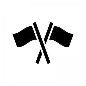 2本の旗の白黒シルエットイラスト