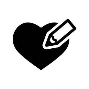 ハートとペンの白黒シルエットイラスト02