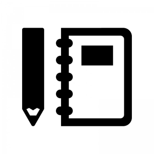筆記用具の白黒シルエットイラスト02