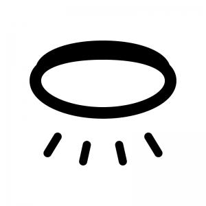 シーリングライトの白黒シルエットイラスト