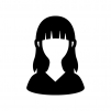 人物(女性)の白黒シルエットイラスト03