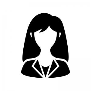 女性会社員(OL)の白黒シルエットイラスト