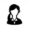 女性会社員(OL)の白黒シルエットイラスト02