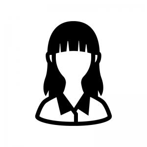 女性会社員(OL)の白黒シルエットイラスト03