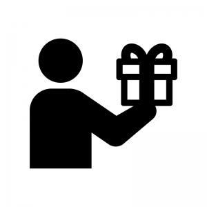プレゼントを贈る白黒シルエットイラスト