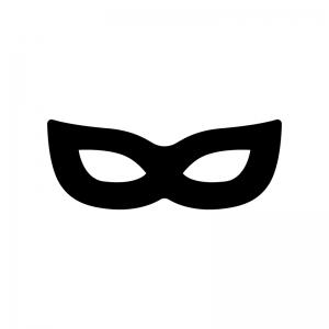 仮面舞踏会のマスクの白黒シルエットイラスト