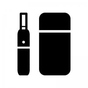 加熱式タバコの白黒シルエットイラスト02