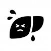 弱っている肝臓の白黒シルエットイラスト