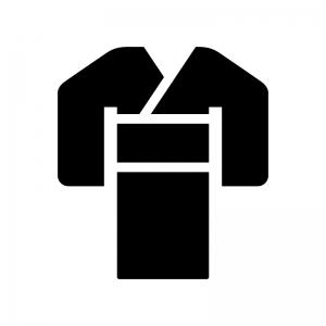 着物の白黒シルエットイラスト