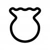 金魚鉢の白黒シルエットイラスト