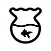 金魚鉢と金魚の白黒シルエットイラスト02
