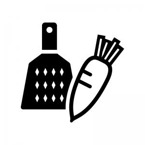 おろし金と大根の白黒シルエットイラスト