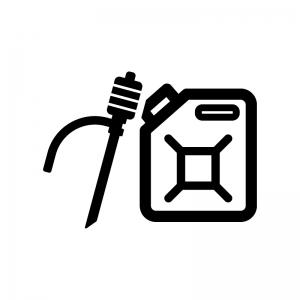 給油ポンプとポリタンクの白黒シルエットイラスト