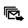 メールの一斉送信の白黒シルエットイラスト