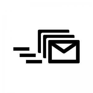 メールの一斉送信の白黒シルエットイラスト02