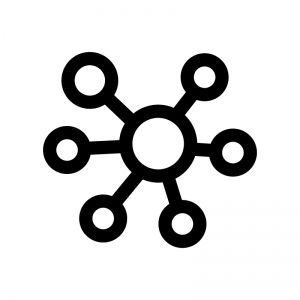 マインドマップの白黒シルエットイラスト