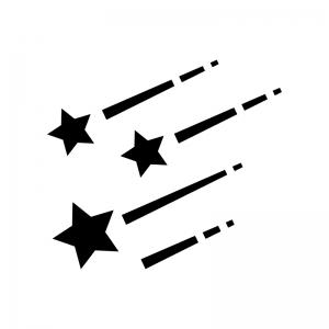 流れ星の白黒シルエットイラスト