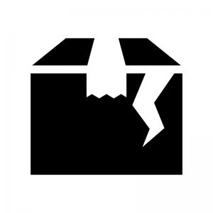 荷物の破損の白黒シルエットイラスト