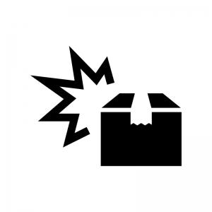 荷物の破損の白黒シルエットイラスト02