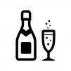 シャンパンの白黒シルエットイラスト