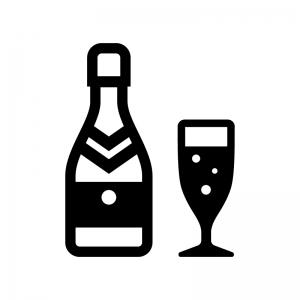シャンパンの白黒シルエットイラスト02