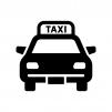 タクシーの白黒シルエットイラスト03