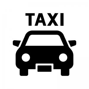 タクシーの白黒シルエットイラスト04