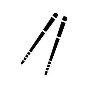 菜箸の白黒シルエットイラスト