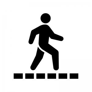 遊歩道の白黒シルエットイラスト02