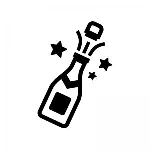 栓を開けたシャンパンの白黒シルエットイラスト