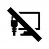 PCのオフラインの白黒シルエットイラスト