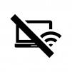 ノートPCのオフラインの白黒シルエットイラスト