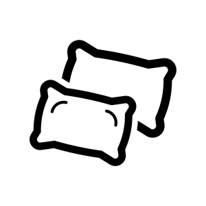 枕の白黒シルエットイラスト02