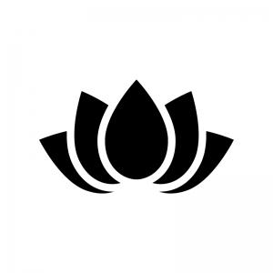 蓮の白黒シルエットイラスト