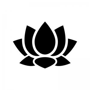 蓮の白黒シルエットイラスト02