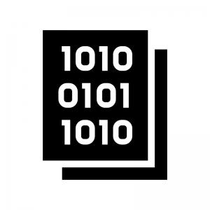 プログラム・バイナリデータの白黒シルエットイラスト02