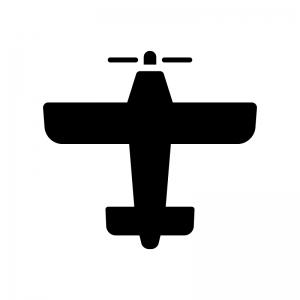 プロペラ機の白黒シルエットイラスト