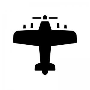 プロペラ機の白黒シルエットイラスト02