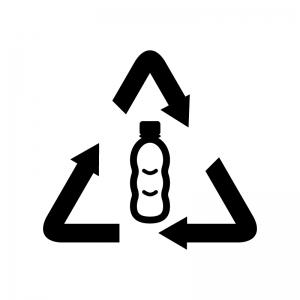 ペットボトルのリサイクルの白黒シルエットイラスト