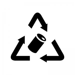 空き缶のリサイクルの白黒シルエットイラスト