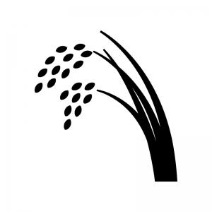 稲穂の白黒シルエットイラスト