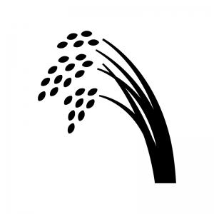 稲穂の白黒シルエットイラスト02