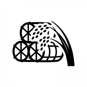 稲と米俵の白黒シルエットイラスト