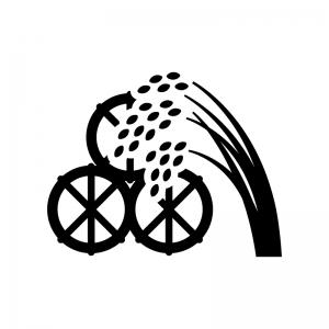稲と米俵の白黒シルエットイラスト02