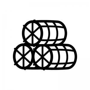 米俵の白黒シルエットイラスト