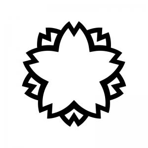 桜の白黒シルエットイラスト06